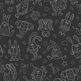 Seamless pattern with contour images of cartoon rabbits , white outline on a dark background