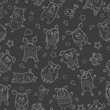 Seamless pattern with funny cartoon pigs , white outline on a  dark background