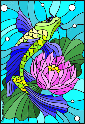 Obraz na Szkle Illustration in style of a stained-glass window with a bright fish and a flower of a lotus against water and vials of air