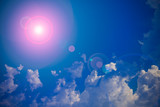 Sun and clouds with lens flare background - 171925902