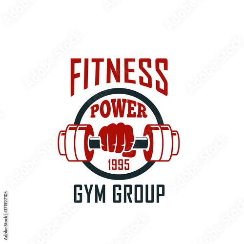 Gym icon of dumbbell for fitness sport club design
