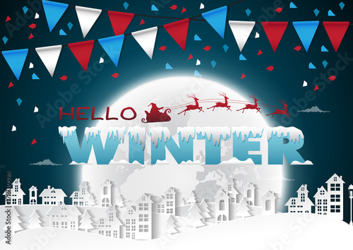 Party Happy winter on urban and full moon background with flags,vector illustration. - 171930596