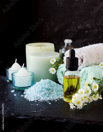 Foto op Plexiglas Spa Spa set with candles, selective focus, space for text