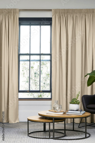 Room window with curtains. Interior hotel room