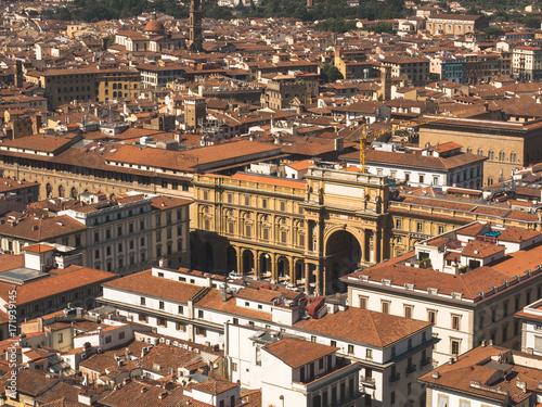 Tuinposter Florence Ansicht auf Florenz von der Kuppel des Doms auf den Piazza della Republica