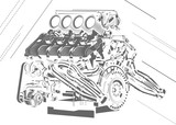 vector high detailed illustration of engine
