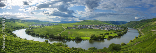 Foto op Aluminium Panoramafoto s Panorama vallée de la Moselle et le village de Trittenheim