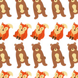 forest bear and fox animals seamless pattern image vector illustration