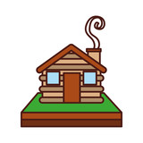 wooden cabin house chimney camp exterior vector illustration - 171948321