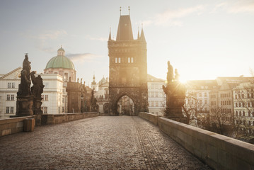 Sunrise on Charles Bridge in Prague, Czech Republic