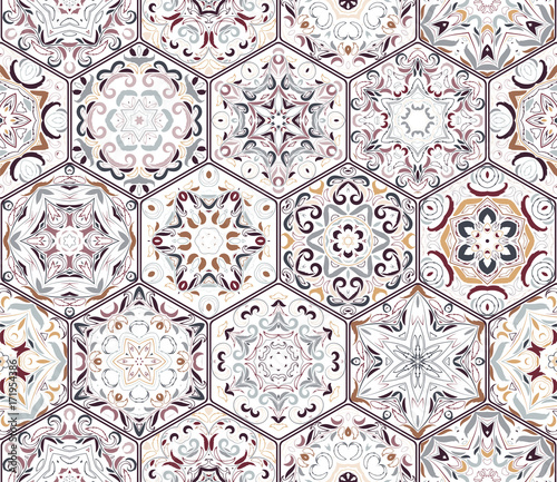 A rich set of hexagonal ceramic tiles. Eastern colored carpet. Colorful elements in oriental style. Vector illustration. - 171954386