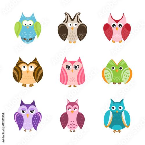 Foto op Plexiglas Uilen cartoon Set of cute owls, vector illustration.