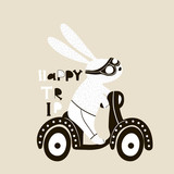 Cute bunny on scooter illustration. Childish print with rabbit for kids apparel, poster, nursery - 171956540