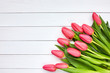 Pink tulips bouquet. Copy space, top view