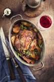 Coq au Vin with Vegetable in Burgundy Sauce as top view in a Casserole - 171961978