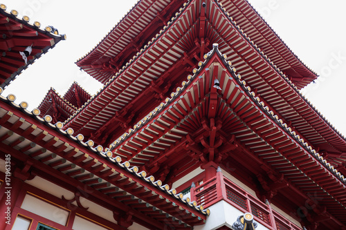 roof of Buddha Tooth Relic Temple at China town, Singapore