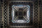 Eiffel Tower symmetrical from below.
