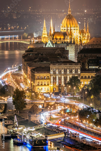 Aerial view of the streets at night and the river Danube, near to the Parliament Poster