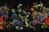 Embroidery cluster of grapes, plums and peonies seamless pattern. Classical embroidery grapes, plums and wild red roses flowers seeamless pattern, template fashionable clothes, t-shirt design - 171964792