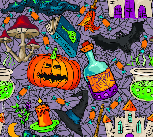 Vector seamless pattern with  icons for Halloween. Hand drawn doodle pumpkin, tree, spiderweb, potion, book, mushrooms, broom, castle.