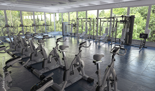 Fotobehang Fitness Centro Fitness, Palestra, Sport, illustrazione 3d