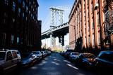 View of Brooklyn Bridge from a side street