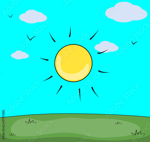 Foto op Canvas Turkoois Cartoon Sunny Landscape- Clip-art vector illustration