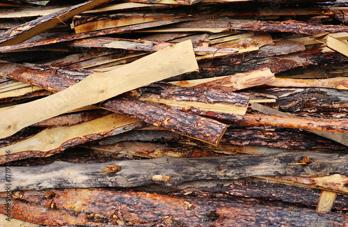 Tuinposter Brandhout textuur Background, texture - wooden blocks close-up. Sawn timber, wooden, logs