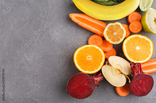 Healthy food background, top view, copy space