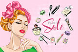 Fototapety Beautiful pin-up style sexy woman with close eyes dreaming about beauty products for makeup. Beauty and fashion industry advertising banner vector illustration