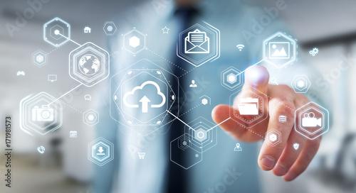 Foto Murales Businessman using digital cloud interface 3D rendering