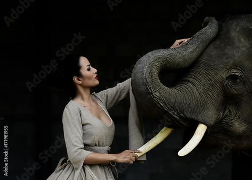 Portrait art of beautiful women and elephants in nature - 171981955