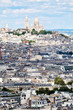 View of Paris with the Sacre Coeur Basilica and Montmartre on the top