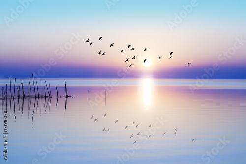 Foto op Canvas Ochtendgloren amanecer sobre el mar en calma