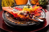 Autumn and Thanksgiving table setting - 171986907