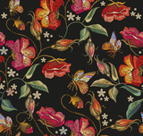 Embroidery butterfly and poppies seamless pattern. Beautiful butterfly and red poppies classical embroidery seamless background. Template clothes, textiles, t-shirt design