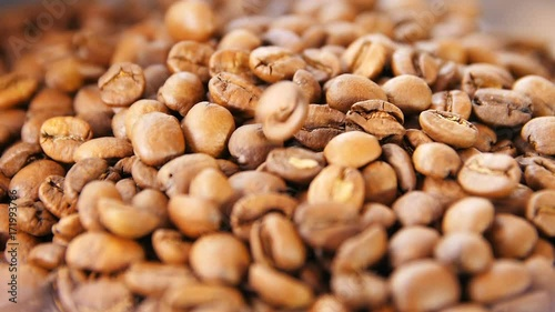 Macro Coffee Grains Lay and Gold Beans Fall down