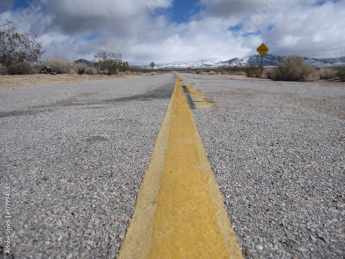 Spoed canvasdoek 2cm dik Route 66 landscape of mojave desert with road / highway 66