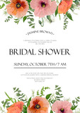 Bridal shower vector template Invitation card design: light pink red peach garden Poppy anemone flowers eucalyptus gym tree branches green leaf herb mix floral background, frame border with text space