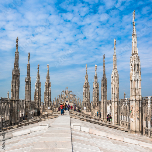 Foto op Canvas Milan Roof terraces of Milan Cathedral, Lombardia, Italy