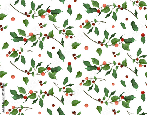 Cotton fabric Merry Christmas New Year seamless pattern for card & gift wrapping paper, print, design. Typographical Background: holly red berry green leaves branches. Festive, decorative, cute watercolor wallpaper