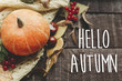 hello autumn text, greeting card. fall image flat lay. beautiful pumpkin and leaves and berries on sweater on rustic wooden background, top view. cozy autumn mood
