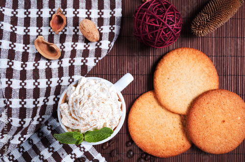 Poster  coffee with cream, biscuits and  peppermint