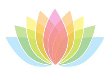 Colorful Lotus Flower Icon Logo on White Background Illustration 2