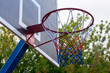 Basketball hoop and blue sky background, basketball basket