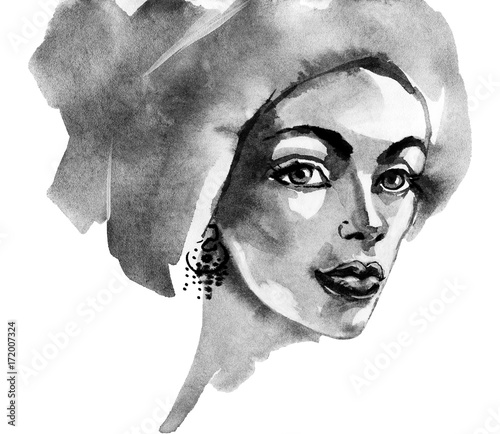 Watercolor fashion woman portrait. Hand drawn black and white young girl in arab style. Painting beauty illustration - 172007324