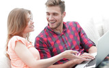 closeup of young couple with laptop - 172007906