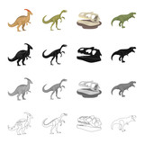 Dinosaur Gallimimus, parasaurolophus, tyrannosaurus, skull. Dinosaurs and prehistoric set collection icons in cartoon black monochrome outline style vector symbol stock illustration web.
