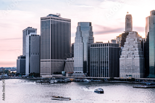 New York City Skyline at Sunset Poster