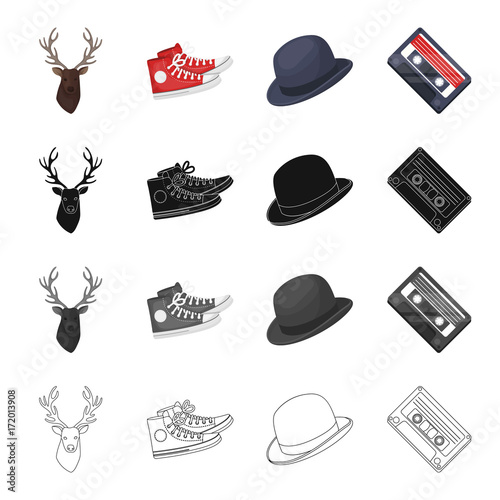 Fotobehang Hipster Hert Reindeer antlers, gumshoes, hat, audio cassette. Hipster style set collection icons in cartoon black monochrome outline style vector symbol stock illustration web.